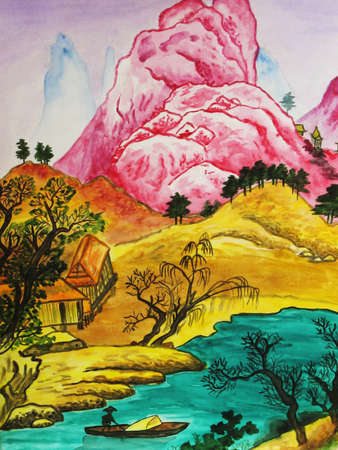 Hand drawn picture, watercolours, in traditions of Chinese painting - hills, river and houses.