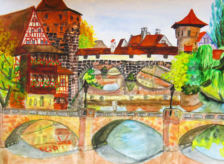 Hand drawn painting, watercolour, town Nuremberg in Germany. photo