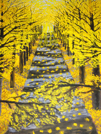 Hand drawn painting in oil colours - autumn golden avenue. Stock Photo