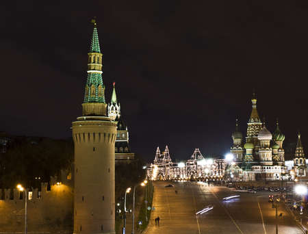 Moscow, Red square with Kremlin tower, St. Basil photo