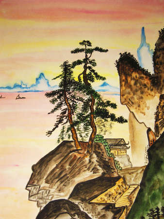 Hand drawn picture in traditions of old Chinese art, watercolours.