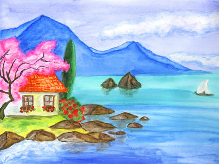 House on sea shore, blue water, blue hills on horizon behind, plants, little sailing boat in sea photo
