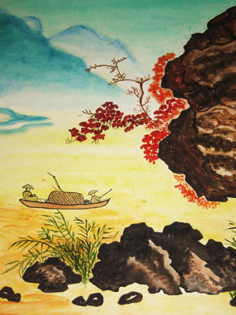 It is my own painting, in tradition of old Chinese art, watercolours.