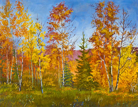 hand drawn picture, oil painting, autumn landscape. photo