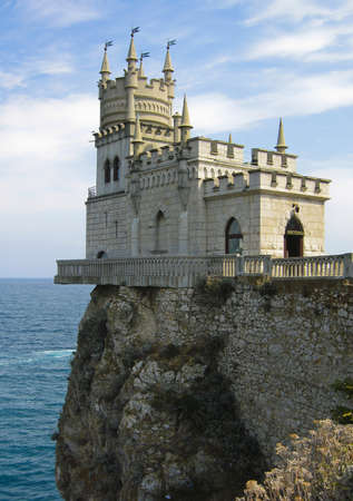 Castle Swallows nest in Crimea on Black sea coast. Editorial