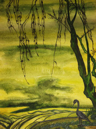 Hand drawn picture in traditions of Chinese painting, bird and tree, green colours. photo