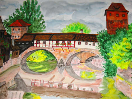 Hand drawn picture, watercolour painting, town Nuremberg in Germany. photo
