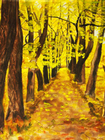 My own hand drawn painting, watercolours, autumn avenue, trees with yellow leaves. photo