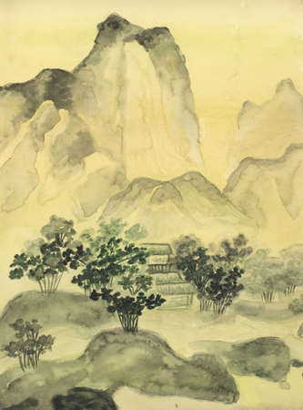 china art: painting, hand drawn in traditions of ancient Chinese painting, watercolours. Stock Photo