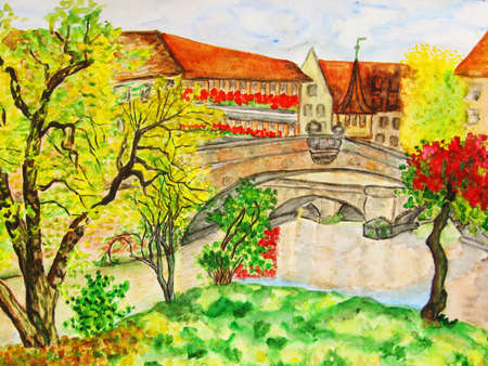 Hand drawn picture, watercolour painting - town Nuremberg in Germany. photo