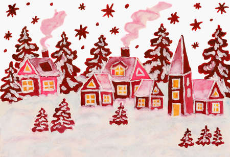 Hand drawn Christmas picture, winter landscape with houses in raspberry pink (crimson) colours, gouache and watercolours. photo