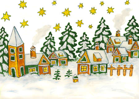 Hand drawn Christmas picture with houses in green and yellow colours, gouache. photo
