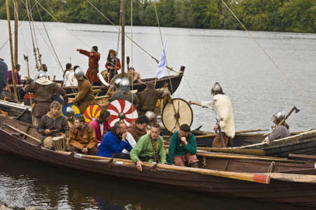 """MOSCOW – SEPTEMBER 4: Historical festival devoted to the City's """"Day"""", vikings on boats, September 4, 2011, in Moscow, Russia."""
