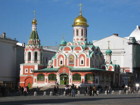 Moscow, Russia - April 24, 2008: Kazanskaya church of St. Maria on Red square near Kremlin.