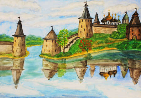 fortification: Hand drawn picture, watercolours painting - middle ages fortress in town Pskov in Russia.