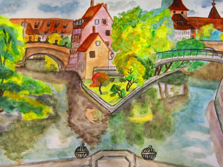 Hand dran picture, watercolours painting, town Nuremberg in Germany. Stock Photo - 11746536