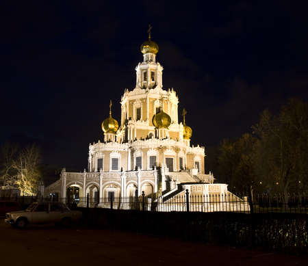 Moscow, church of St. Mary in region Fili at night. photo