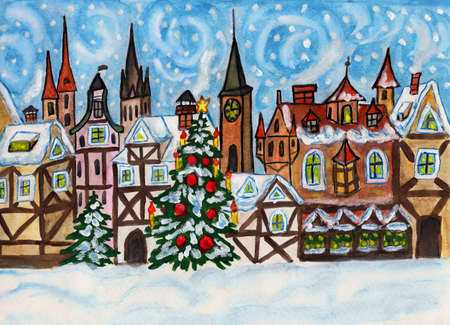 Hand drawn picture, gouache, Christmas in old European town.