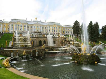 Petergoph, surroundings of St. Petersburg, Russia, king's palace and grand-fountain. Редакционное