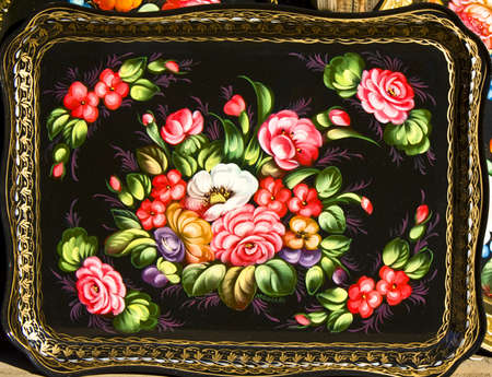 Tray, hand painted in traditional style called Zhostovo by name of place of its production, Russia, very famous and expensive, one of symbols of national art of the country.