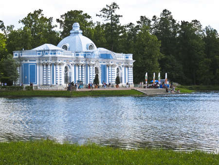 Tsarskoye selo, surroundings of St. Petersburg, Russia- July 17, 2008: Decorative pavilion in park and lake.