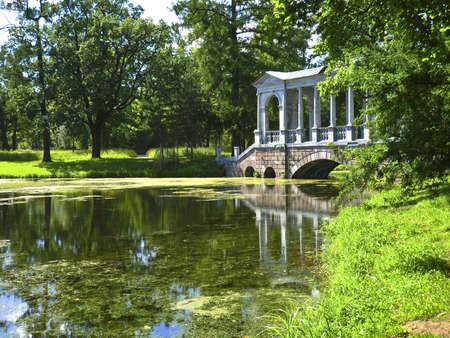 selo: Bridge in park in Tsarskoye selo, surroundings of St. Petersburg, Russia. Stock Photo