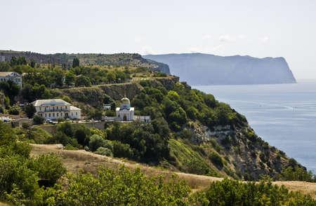 promontory: Svyato-Georgievskiy monastery on cape (promontory) Fiolent in Crimea on Black sea.