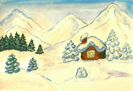 Hand painted picture, watercolours - little house in mountains in winter. photo