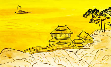 Hand painted picture, watercolours, in tradition of old Chinese art - landscape in yellow colours with houses on the rock. Фото со стока