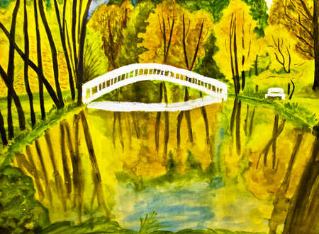 Painted picture, watercolours - autumn landscape with forest, lake and bridge. photo