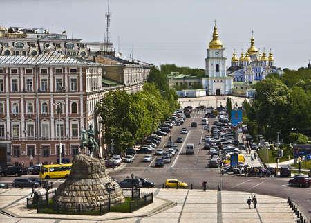 Kiev, Ukraine, May 06, 2010 - monument to Bogdan Hmelnitskiy and Mihaylovskiy monastery. Editorial