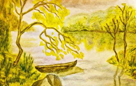 Hand painted picture, watercolours - autumn landscape with boat on water. photo