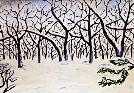 Hand painted picture in watercolours, landscape - winter forest. photo