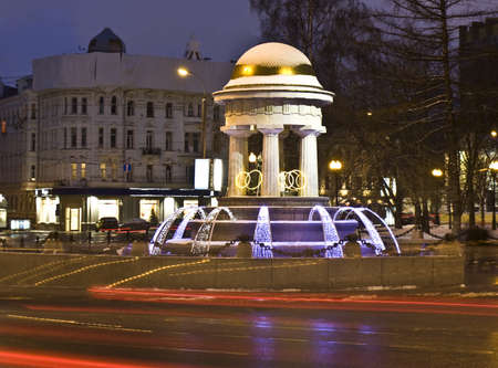 Moscow, Russia - January 04, 2012: electric winter fountain on Nikitskiye gates square.