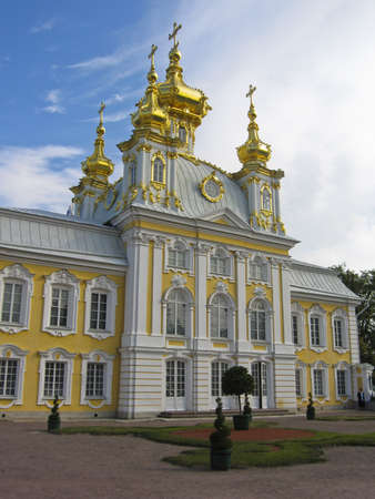 Petergoph, Russia - August 26, 2008: architecture complex Petergoph in suburbs of St. Petersburg, Big palace church.