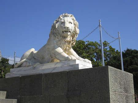 alupka: Alupka, Crimea, Ukraine - September 09, 2009: Sculpture of stone lion near Vorontcovskiy palace in town Alupka in region Crimea, Ukraine.