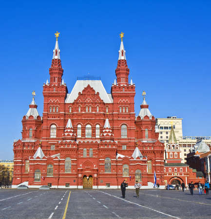 xx century: Moscow, Russia - March 03, 2012: Historical museum, architecture landmark of beginning of XX century, and Red square.