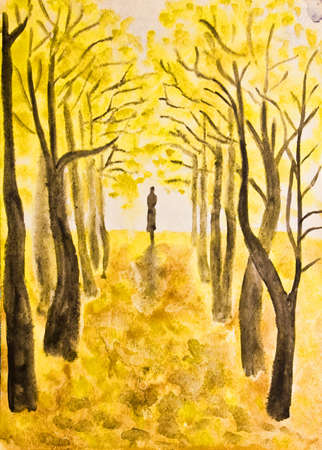 Hand painted picture, watercolours - autumn landscape, woman walking on yellow alley  photo