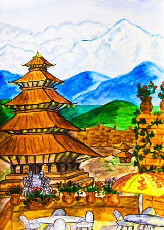 Hand painted picture, watercolours - Nepal, pagoda and mountains  photo