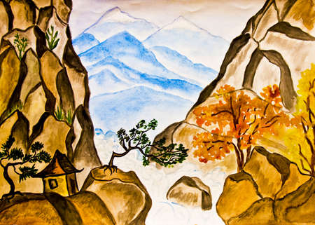 Hand painted picture in traditions of old Chinese art, watercolours - landscape with house in mountains