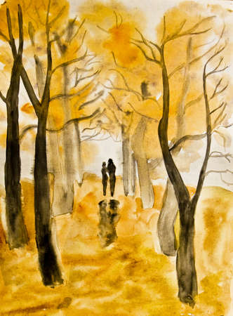 Hand painted picture, watercolours - couple lovers walking down autumn alley Stock Photo - 12843308