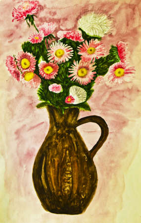 Bouquet of pink daisies, hand painted picture, watercolours. photo