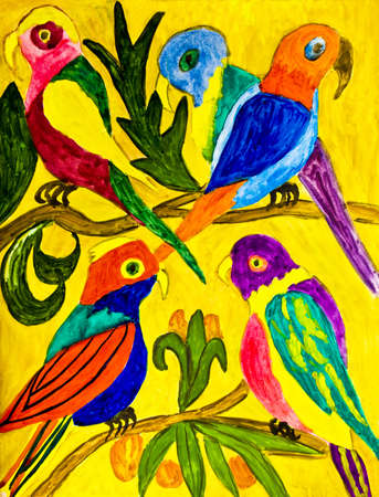 Hand painted picture, multicoloured tropical parrots on yellow background.