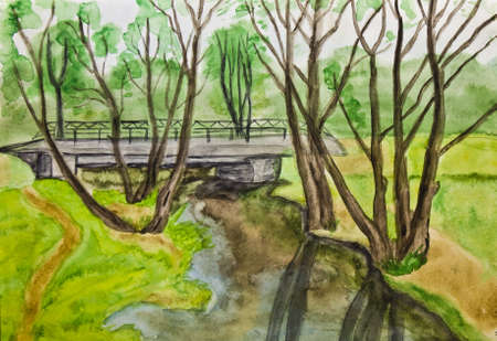 Hand painted picture, watercolours - spring landscape. photo