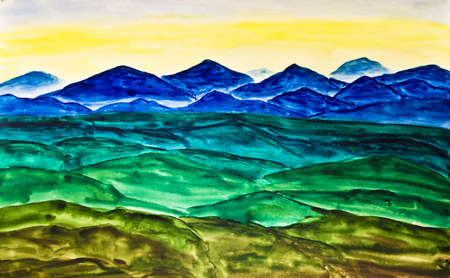 Hand painted picture, watercolours, landscape with blue and green hills on yellow sky. photo