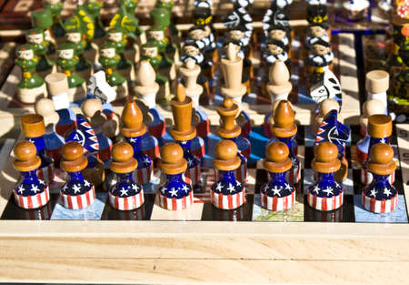 chessmen: Chessmen figures with original painting - USA flag.