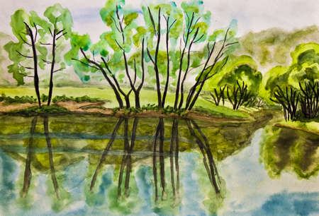 Hand painted picture, watercolours - summer landscape with willow trees near lake. photo