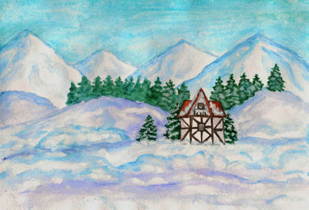Hand painted picture, watercolours - house in mountains in winter in Europe. photo