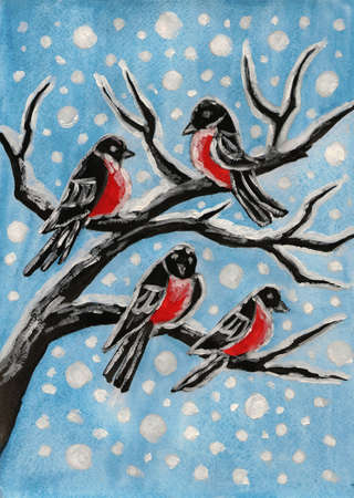 Hand painted picture, gouache, few bullfinches on branch and falling snow on blue sky. photo