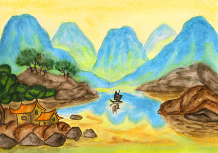 Hand painted picture, watercolours, mix of traditions of ancient Chinese art and individual style, landscape with blue hills on yellow background. photo